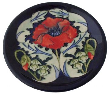 Large Moorcroft Pottery Poppy Plate Designed By Rachel Bishop